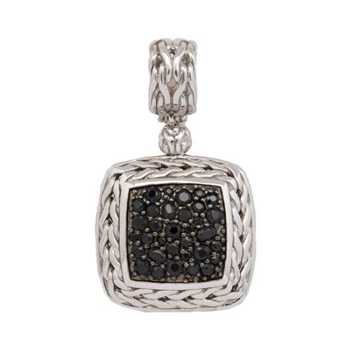 John Hardy Sterling Silver Black Sapphire Square Pendant