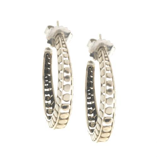 John Hardy Sterling Silver Dot Hoop Earrings 1¼