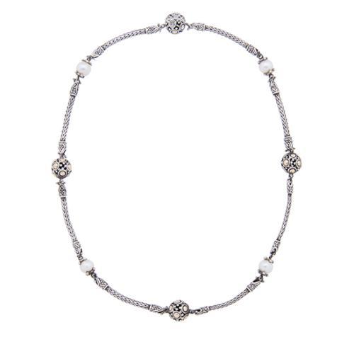 John Hardy Sterling Silver Pearl Jaisalmer Station Necklace