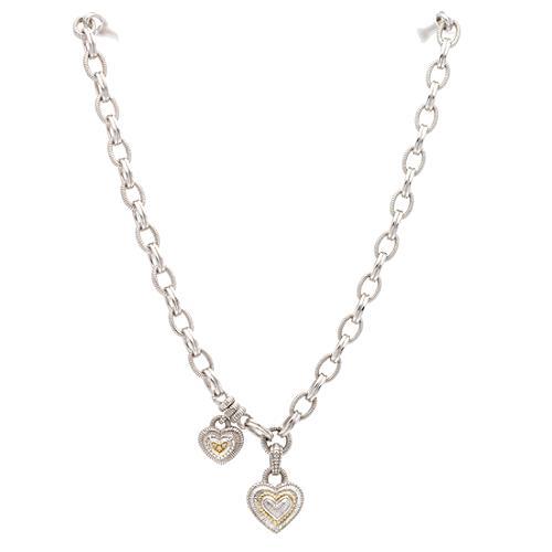 Judith Ripka 2 Hearts Diamond Necklace