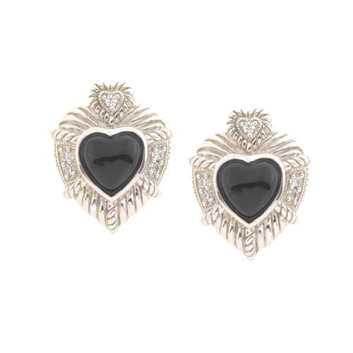 Judith Ripka Black Onyx Heart Earrings