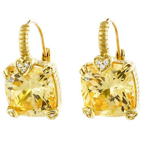Judith Ripka Canary Crystal 18k Fontaine Earrings