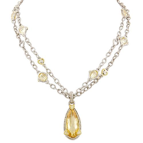 Judith Ripka Canary Crystal Double Strand Pendant Necklace