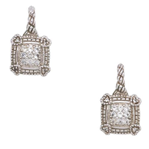 Judith Ripka Diamond Sterling Silver 18kt Yellow Gold Lever Back Earrings