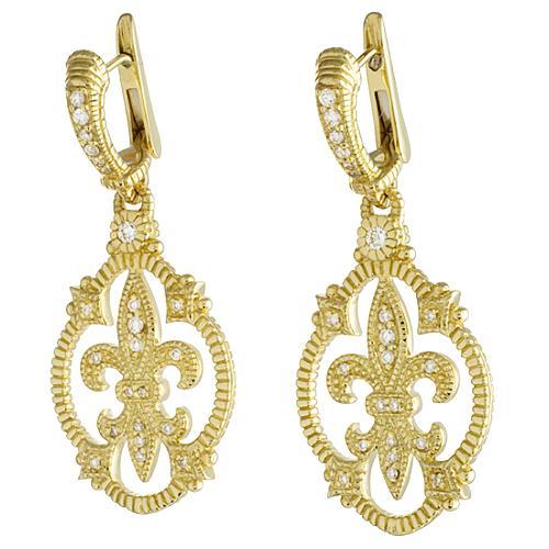 Judith Ripka Fleur De Lis Drop Earrings