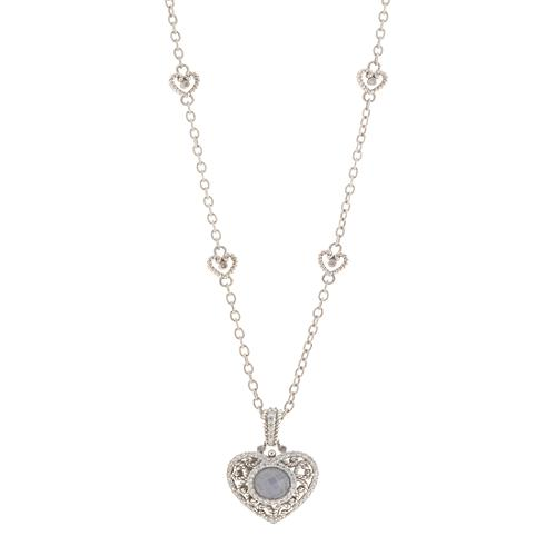Judith Ripka Heart Chain Mother of Pearl Necklace