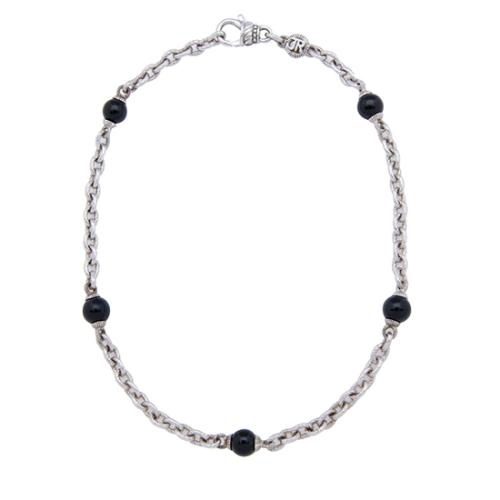 Judith Ripka Sterling Silver Onyx Necklace