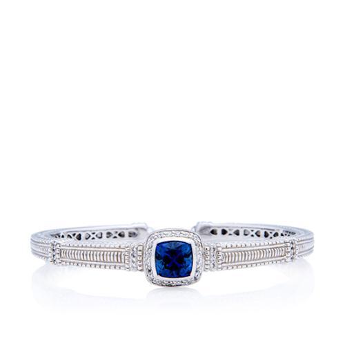 Judith Ripka Sterling Silver Sapphire Kick Cuff Bracelet
