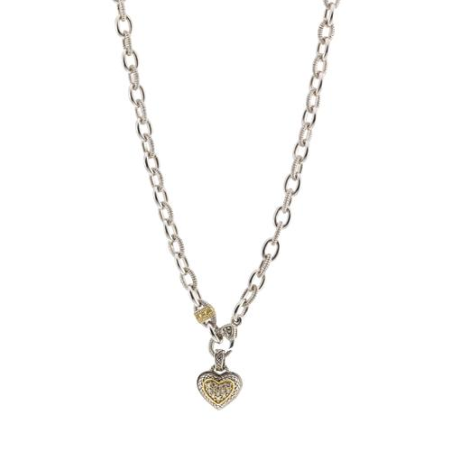 Judith ripka sterling silver and 18k yellow gold diamond heart judith ripka sterling silver and 18k yellow gold diamond heart pendant necklace aloadofball Images