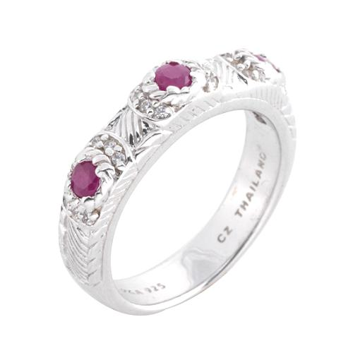 Judith Ripka Sterling Silver with Ruby Ring - Size 9
