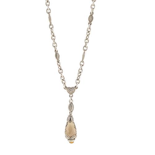 Judith Ripka Teardrop Whiskey Quartz Pendant Necklace