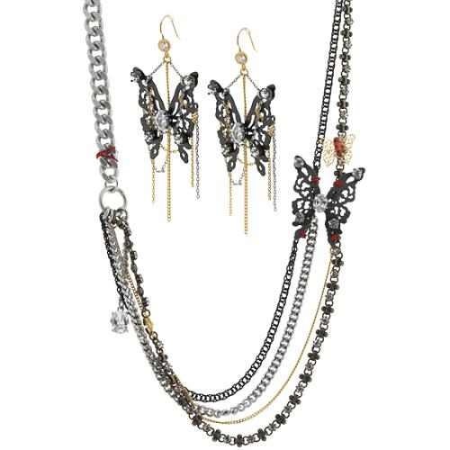 Juicy Couture After Hours Butterfly Earrings & Multi Strand Chain Necklace
