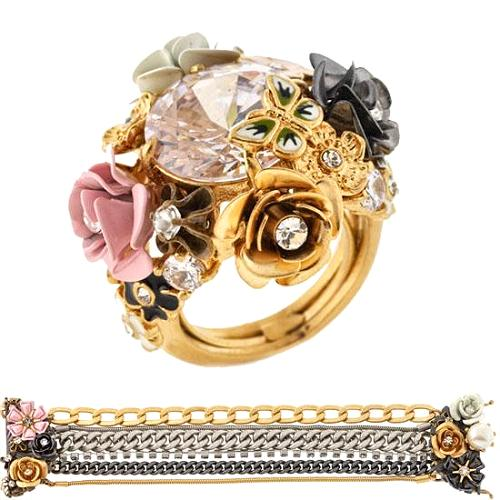 Juicy Couture Gilded Flower Cluster Bracelet & Ring