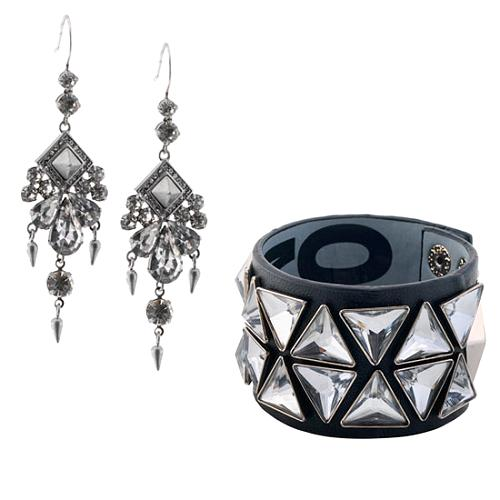 Juicy Couture Midnight Swag Earrings & Pyramid Bracelet