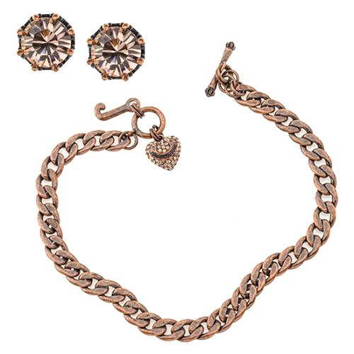 Juicy Couture Pave Rose Gold Necklace & Stud Earrings