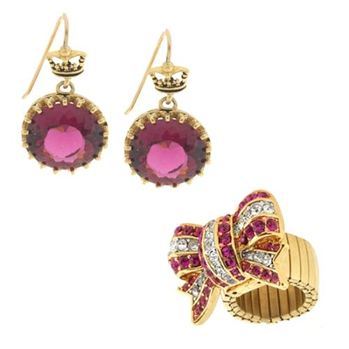 Juicy Couture Raspberry Solitaire Earrings and Bow Ring