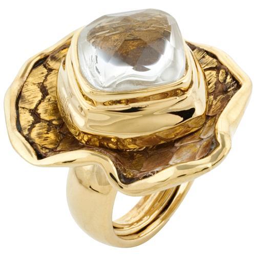 Kara Ross Gold 1 Petal Flower Ring