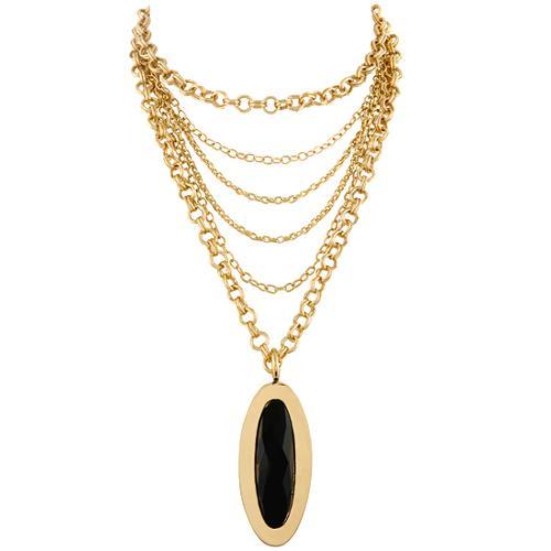 "Kara Ross Onyx 36"" Oval Pendant"
