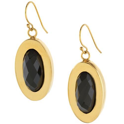 Kara Ross Onyx Small Oval Drop Earring