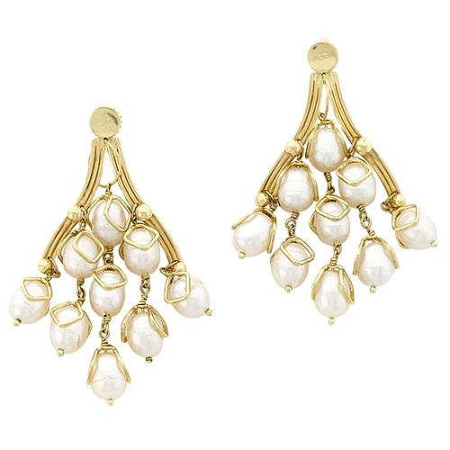 Kara Ross Small Taj Pearl Earrings
