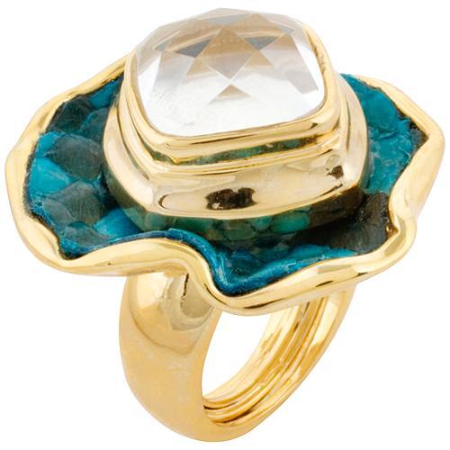 Kara Ross Teal 1 Petal Flower Ring