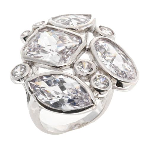 CZ by Kenneth Jay Lane Multi Shape Faceted Cluster Ring