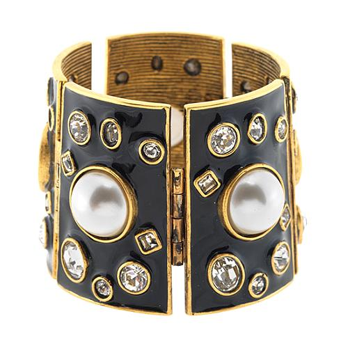 Kenneth Jay Black Enamel Lane Cuff