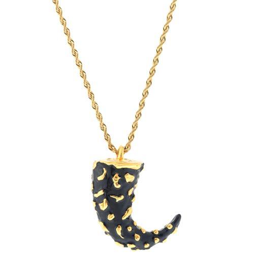 Kenneth Jay Lane Black & Gold Horn Necklace