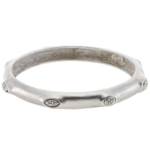 Kenneth Jay Lane Brushed Silver & Crystal Bangle