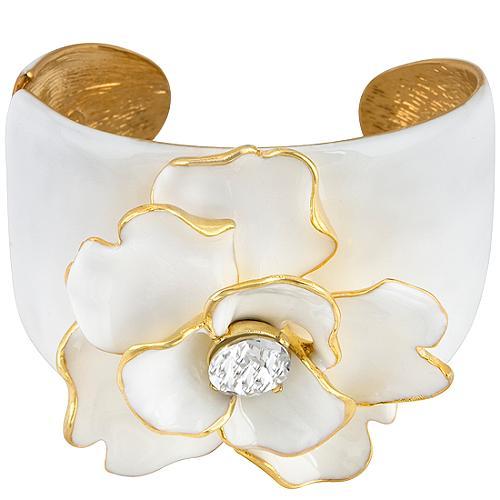 Kenneth Jay Lane Crystal Flower Cuff