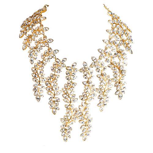Kenneth Jay Lane Crystal Leaf Drop Necklace