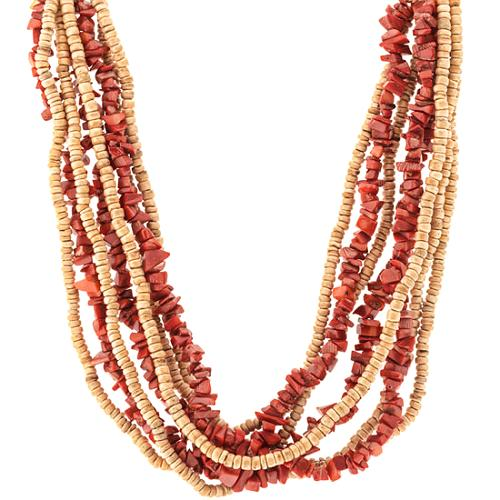 Kenneth Jay Lane Eight Row Wood Necklace