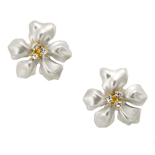 Kenneth Jay Lane Flower Pearl Earrings