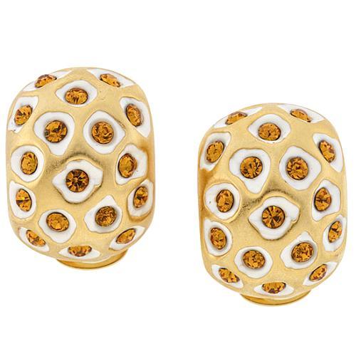Kenneth Jay Lane Jungle Print Clip Earrings