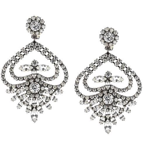 Kenneth Jay Lane Large Crystal Drop Clip Earrings