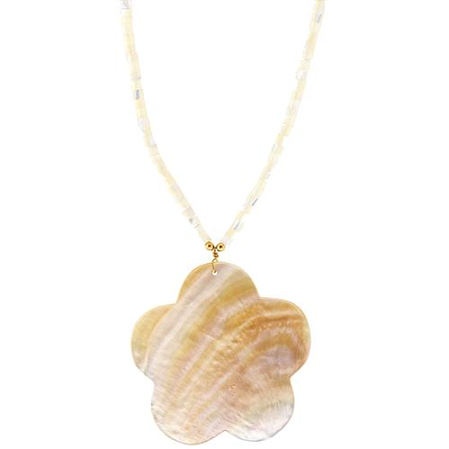 Kenneth Jay Lane Mother of Pearl Flower Necklace