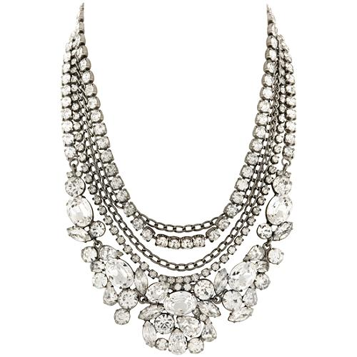 Kenneth Jay Lane Multi Strand Crystal Necklace