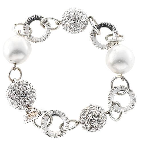 Kenneth Jay Lane Pearl & Disco Ball Bracelet