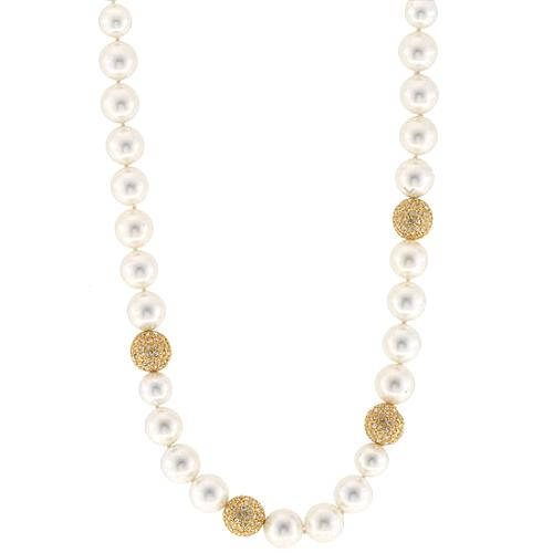 Kenneth Jay Lane Pearl & Disco Ball Necklace