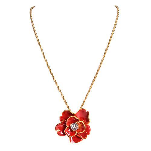 Kenneth Jay Lane Red Enamel Flower Necklace