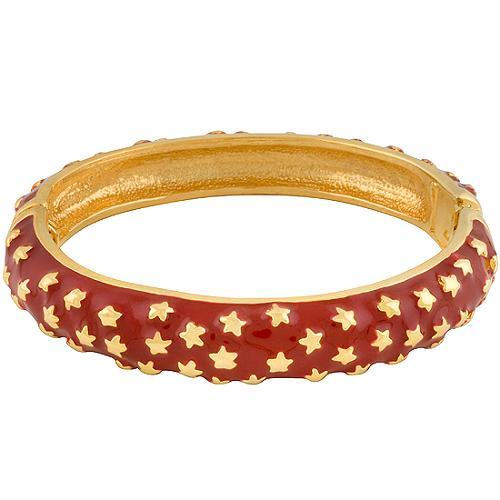 Kenneth Jay Lane Red Enamel Star Hinged Bracelet