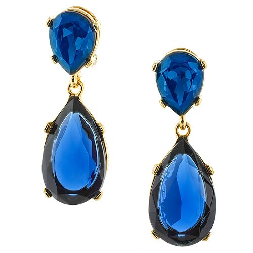 Kenneth Jay Lane Sapphire Clip Earrings