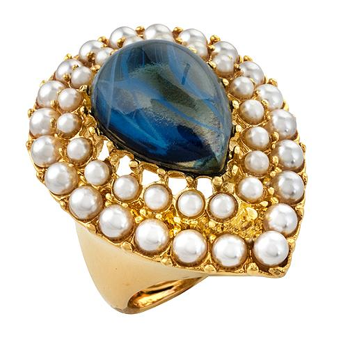 Kenneth Jay Lane Sapphire Color Flower Ring
