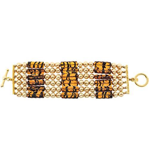 Kenneth Jay Lane Six Pearl & Tortoise Bead Bracelet
