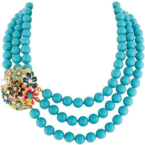 Kenneth Jay Lane Three Row Garden Party Necklace
