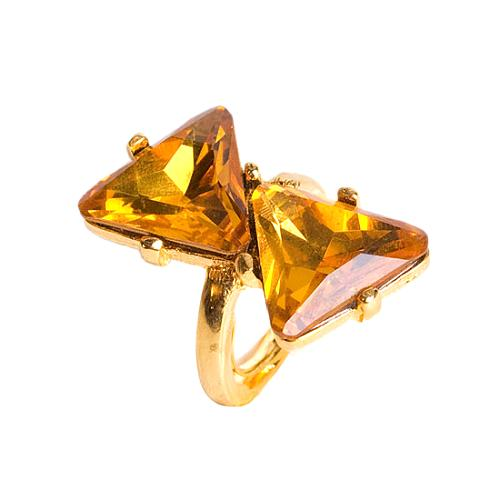 Kenneth Jay Lane Topaz Double Triangle Ring