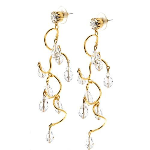 Kenneth Jay Lane Twisty Chandelier Pierced Earrings