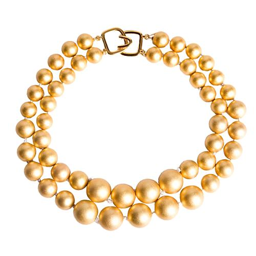 Kenneth Jay Lane Two Row Gold Necklace