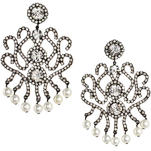 Kenneth Jay Lane White Shell Pearl Chandelier Earrings