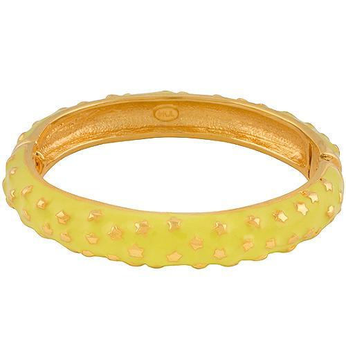 Kenneth Jay Lane Yellow Enamel Star Hinged Bracelet